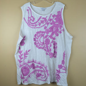 Lucky Brand Women's White w/ Pink Embroidery Tank